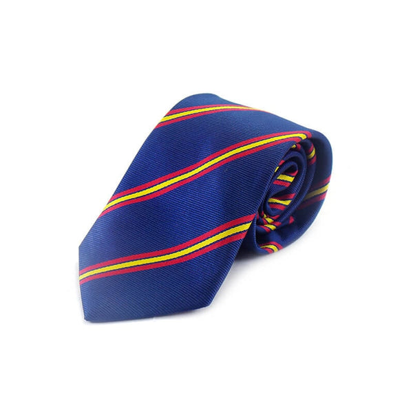 Mayo Design Tie blue & red yellow black lines