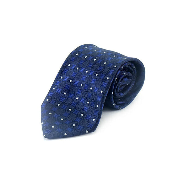 Mayo Design Tie Blue & Black circle white dot