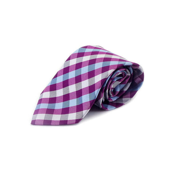 Mayo Design Tie dark pink white sky check