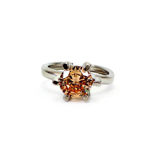 Mayo Silver Plated Golden Stone Ring (Size-17)