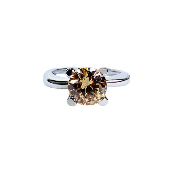 Mayo Silver Plated Golden Stone Ring (Size-16)