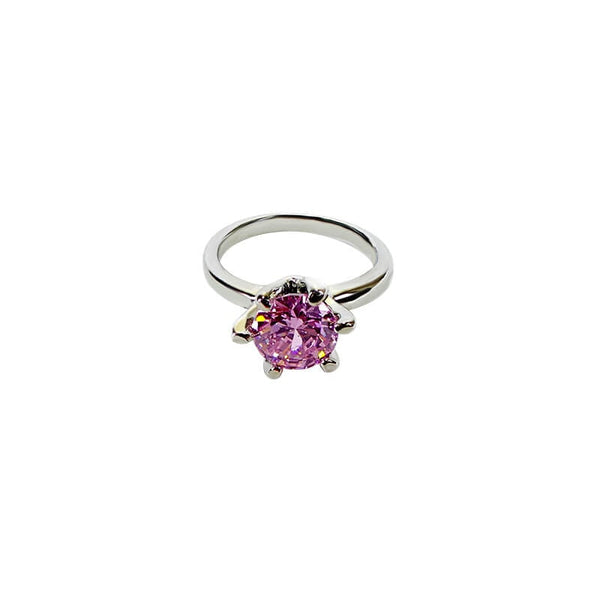 Mayo Silver Plated Pink Stone Ring (Size-17)