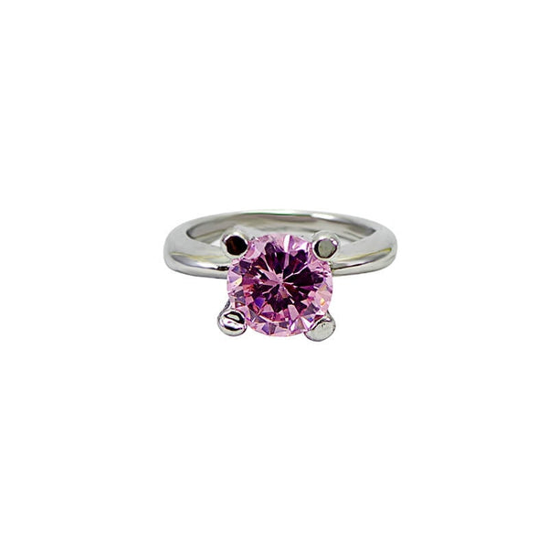 Mayo Silver Plated Pink Stone Ring (Size-18)