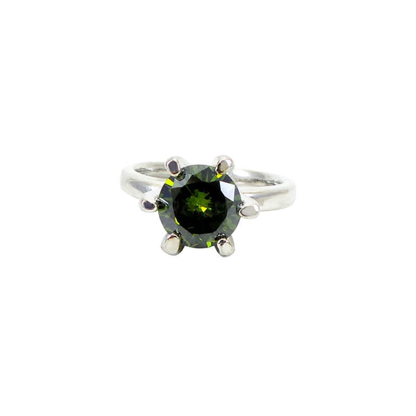 Mayo Silver Plated Green Stone Ring (Size-17)
