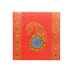 Mayo Shagun Fancy Half Folded Envelopes With Coin-Red