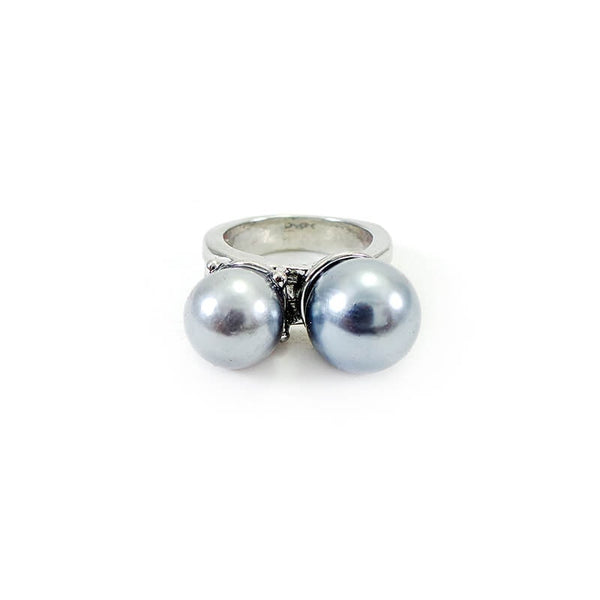 Mayo Silver Plated Gray Pearl Ring(Size-17)