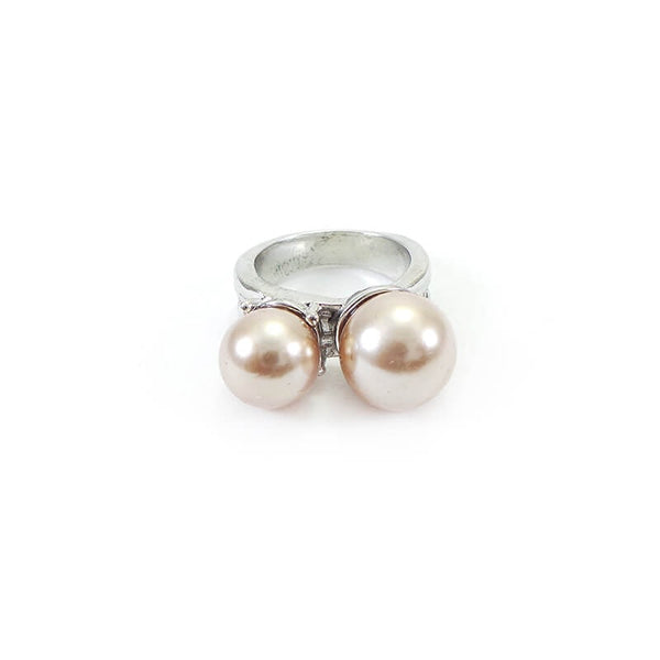 Mayo Silver Plated Golden Pearl Ring(Size-17)