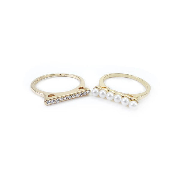 Mayo Pearl & Stone 2 Rings In 1 (Size-18)