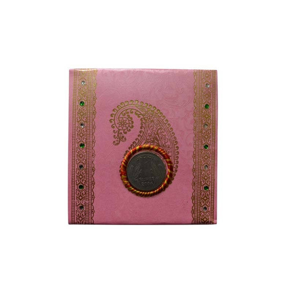 Mayo Shagun Fancy Half Folded Envelopes With Coin-Pink