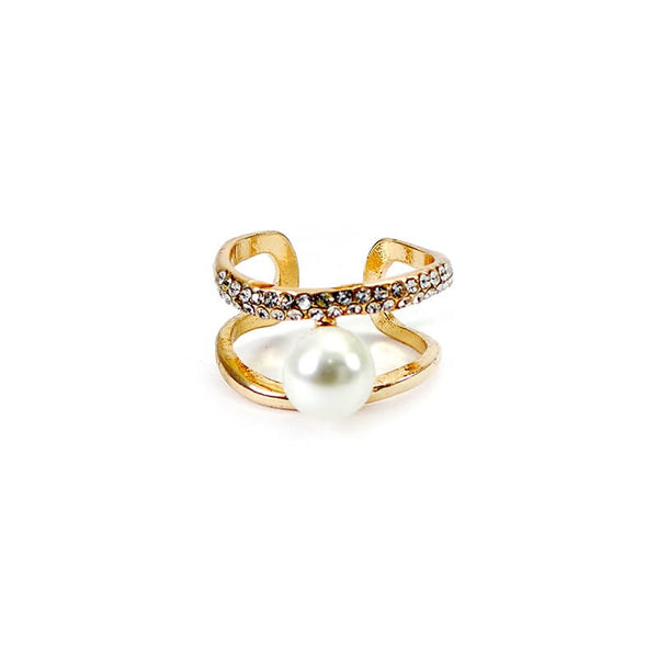 Mayo Pearl With Stone Gold Staylish Ring (Adjustable) 1 Pc