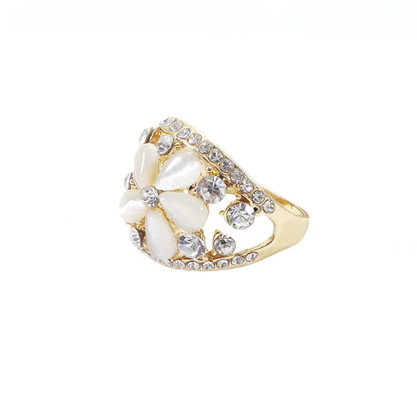 Mayo Flower With Stone Ring (Size 18) 1 Pc