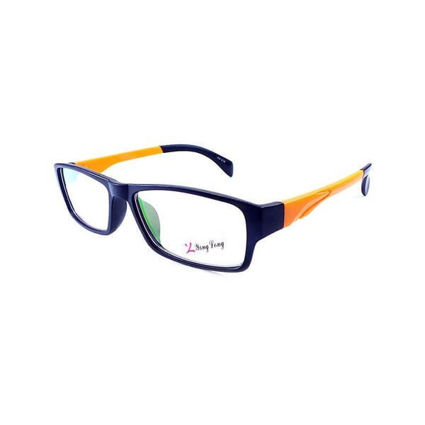 Yong Long Black & Orange Rectangular Frame Eyewear For Men