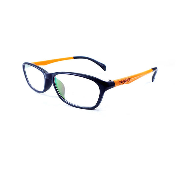 Yong Long Black & Orange Oval Frame Eyewear For Men