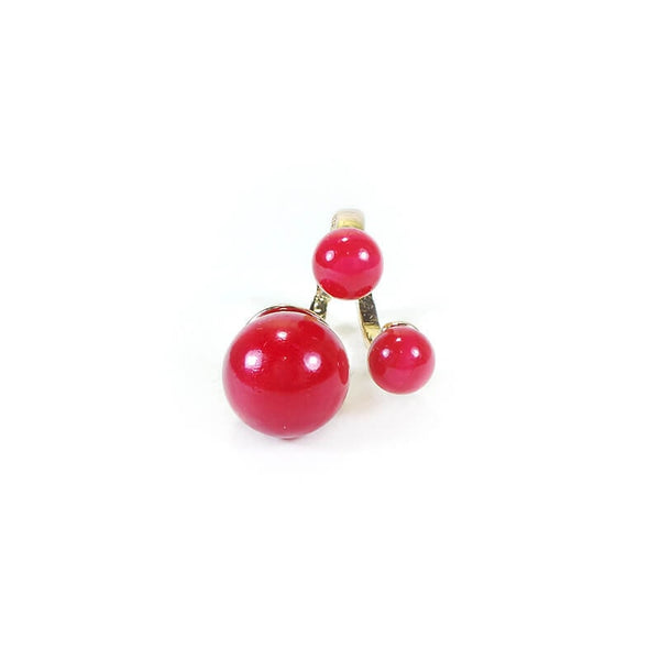 RED PEARL FINGER RING(ADJUSTABLE)