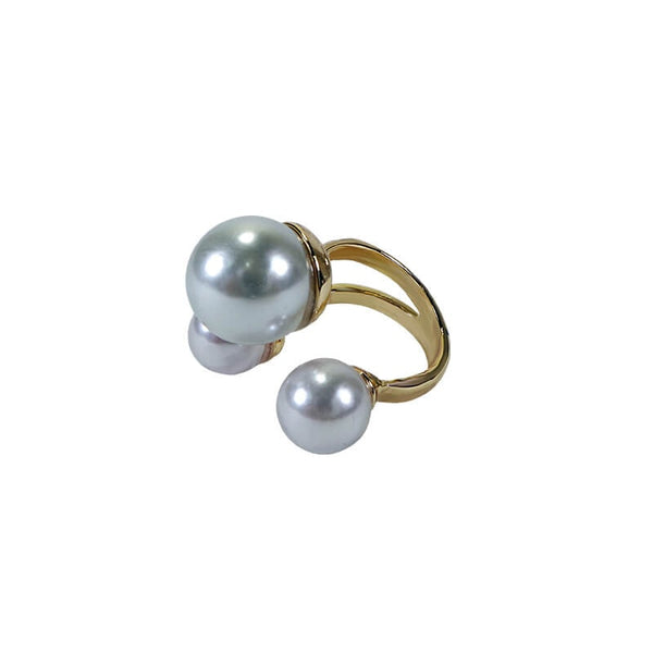 THREE PEARL FINGER RING(ADJUSTABLE)