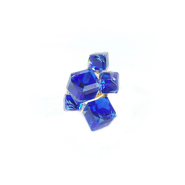 FIVE BLUE CUBE FINGER RING(SIZE 18)