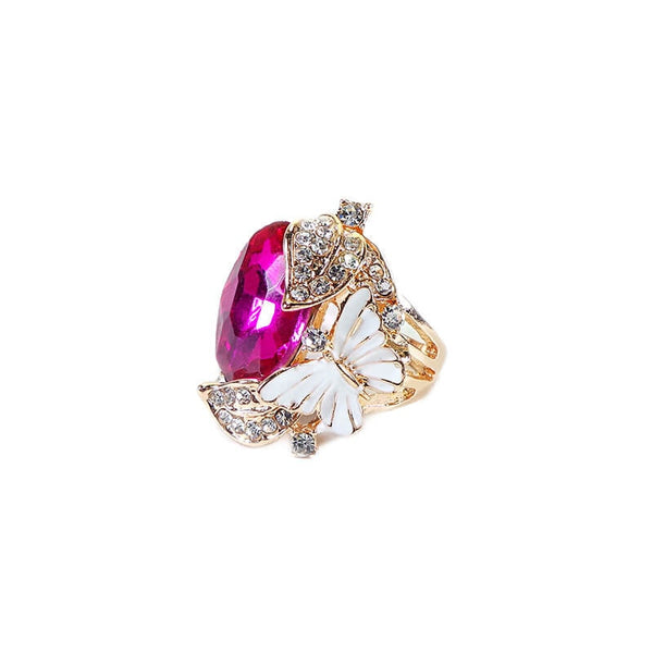 BUTTERFLY WITH PINK STONE FINGER RING(SIZE 17)