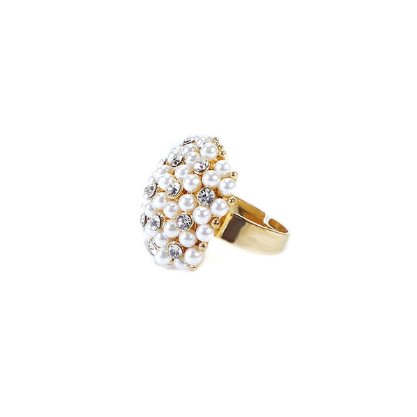 PARTY WEAR SMALL PEARL FINGER RING (ADJUSTABLE)