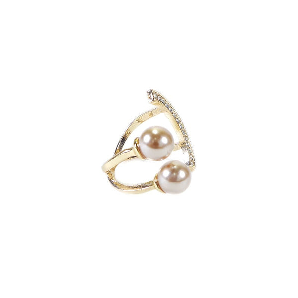 SMILY RING WITH SILVER PEARL FINGER RING (ADJUSTABLE)