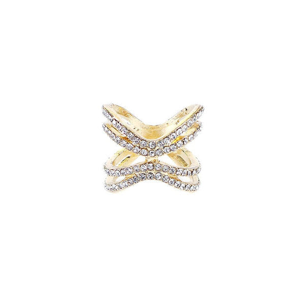 GOLDEN RING WITH DIAMOND IN ZIRCONIA SHAPE FINGER RING( SIZE 18) 1 Pc