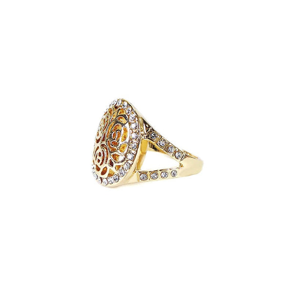 GOLDEN TRADITIONAL ROSE RING WITH STONE(SIZE 18)