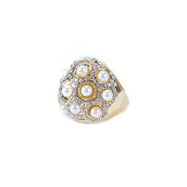 UNIQUE TRADITIONAL WITH PEAR AND DIAMOND FINGER RING(SIZE 18)