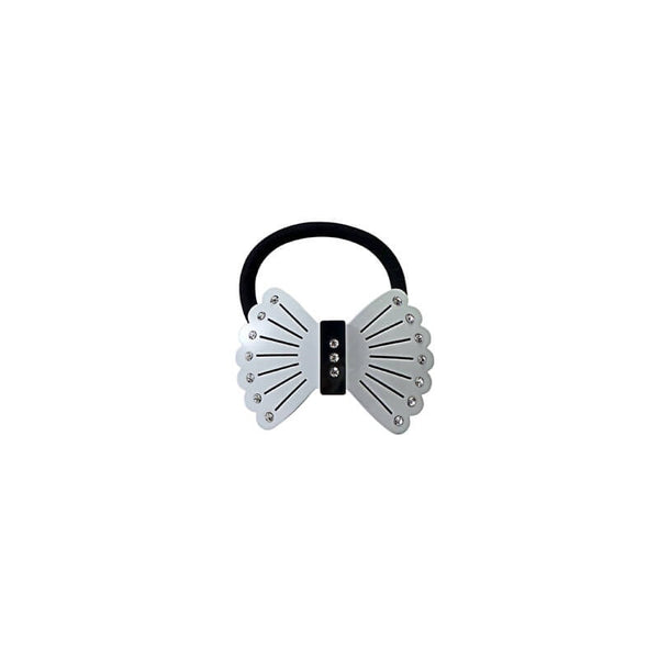Mayo Fancy Butterfly Black & White Rubber Band