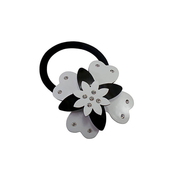 Mayo Fancy Flower Black & White Rubber Band