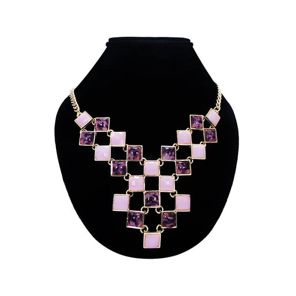 Mayo Gold Pink & Light Purple Stone Neck Jewel