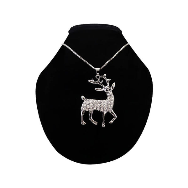 Mayo Black Dear With Stone  Pendent With Long Chain