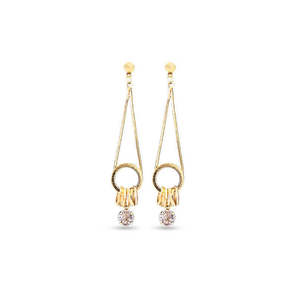 Mayo One Diamond & Circle Long Earring