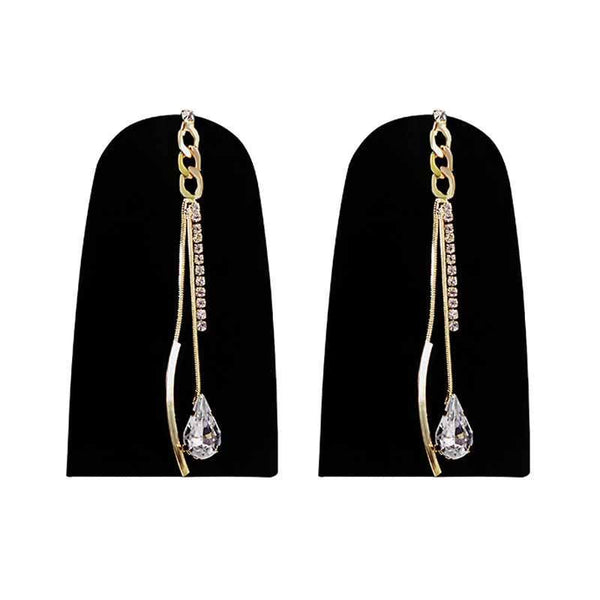 Mayo Hanging Stone Gold Plated Earrings 1 Pc