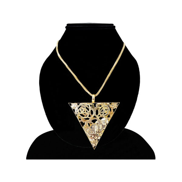 Mayo Triangle  Gold Plated Pendant With Chain 1 Pc