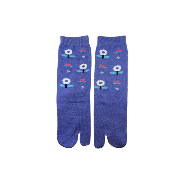 Mayo Safina Flower Print Blue Thumb Socks