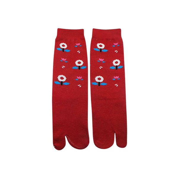 Mayo Safina Flower Print Red Thumb Socks