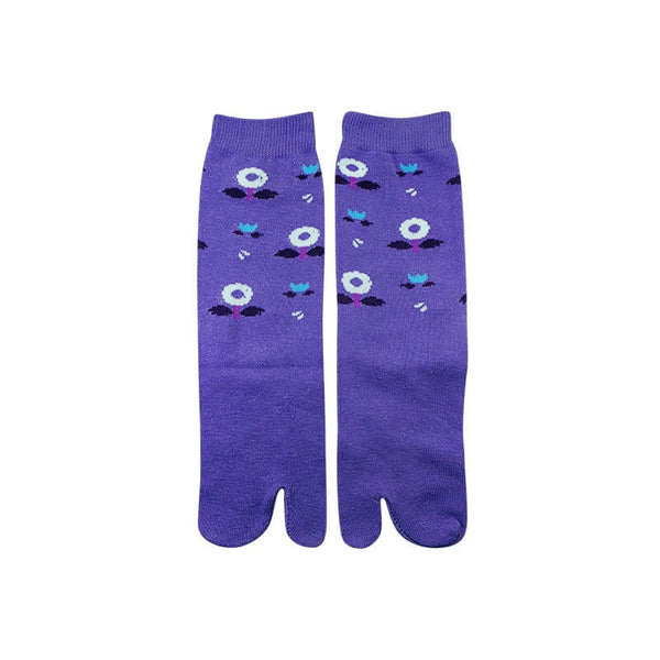 Mayo Safina Flower Print Purple Thumb Socks