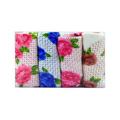 Mayo Safina  Flowers & Dots Print Face Towels Brown Blue Pink & Red