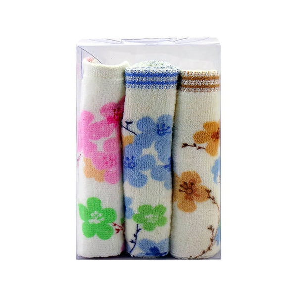 Mayo Safina  Flowers  Face Towels Brown Blue & Pink 3 Pcs