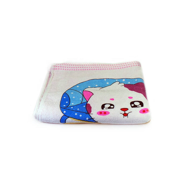 Mayo Soft Kids Towels Happy Cat Print Light Pink