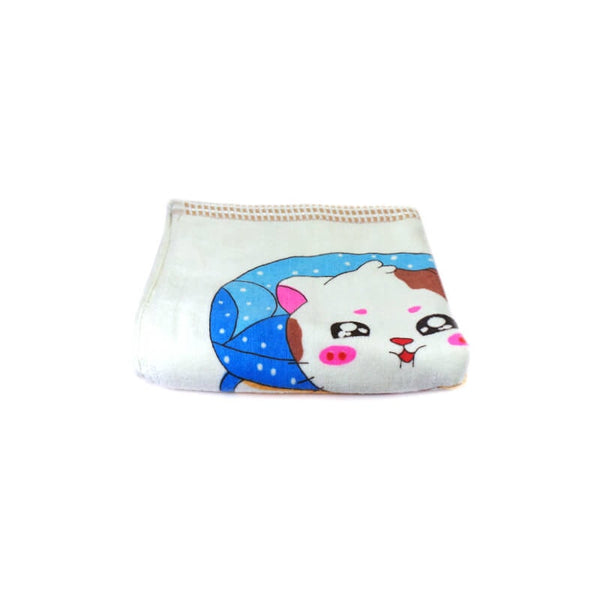 Mayo Soft Kids Towels Happy Cat Print Light Cream