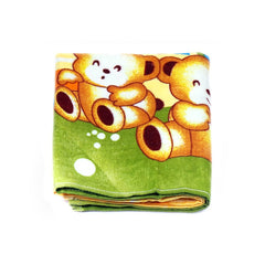 Mayo Soft Kids Towels 2 Teddy Bear Print Green&Yellow