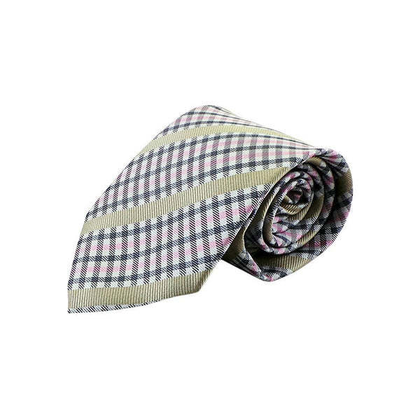 Mayo Design Tie Black White, Pink & Cream