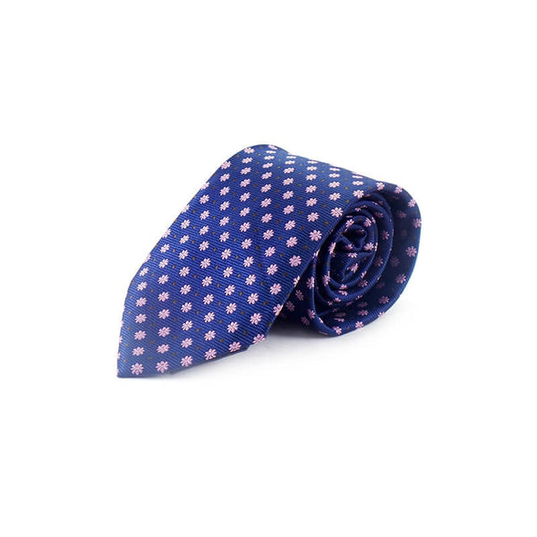 Mayo Design Tie dark blue & pink dot
