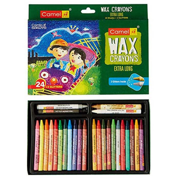 Camel Wax Crayons + 2 Glitters