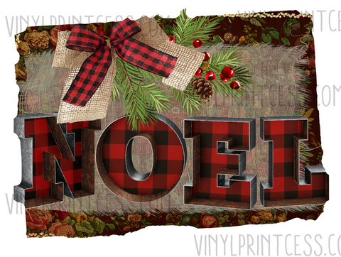 Noel Christmas Design  - Pre-Cut Heat Transfer Decal