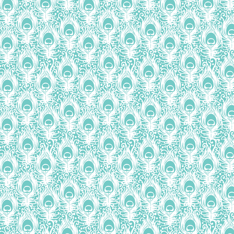 Aqua Peacock Flowers Printed Craft Vinyl 651 And Htv