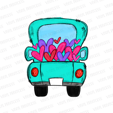 Valentine's Day Aqua - BLANK Tag - Hearts Truck - Pre-Cut Heat Transfer Decal