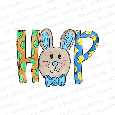 Easter BOY Bunny Hop - Pre-Cut Heat Transfer Decal