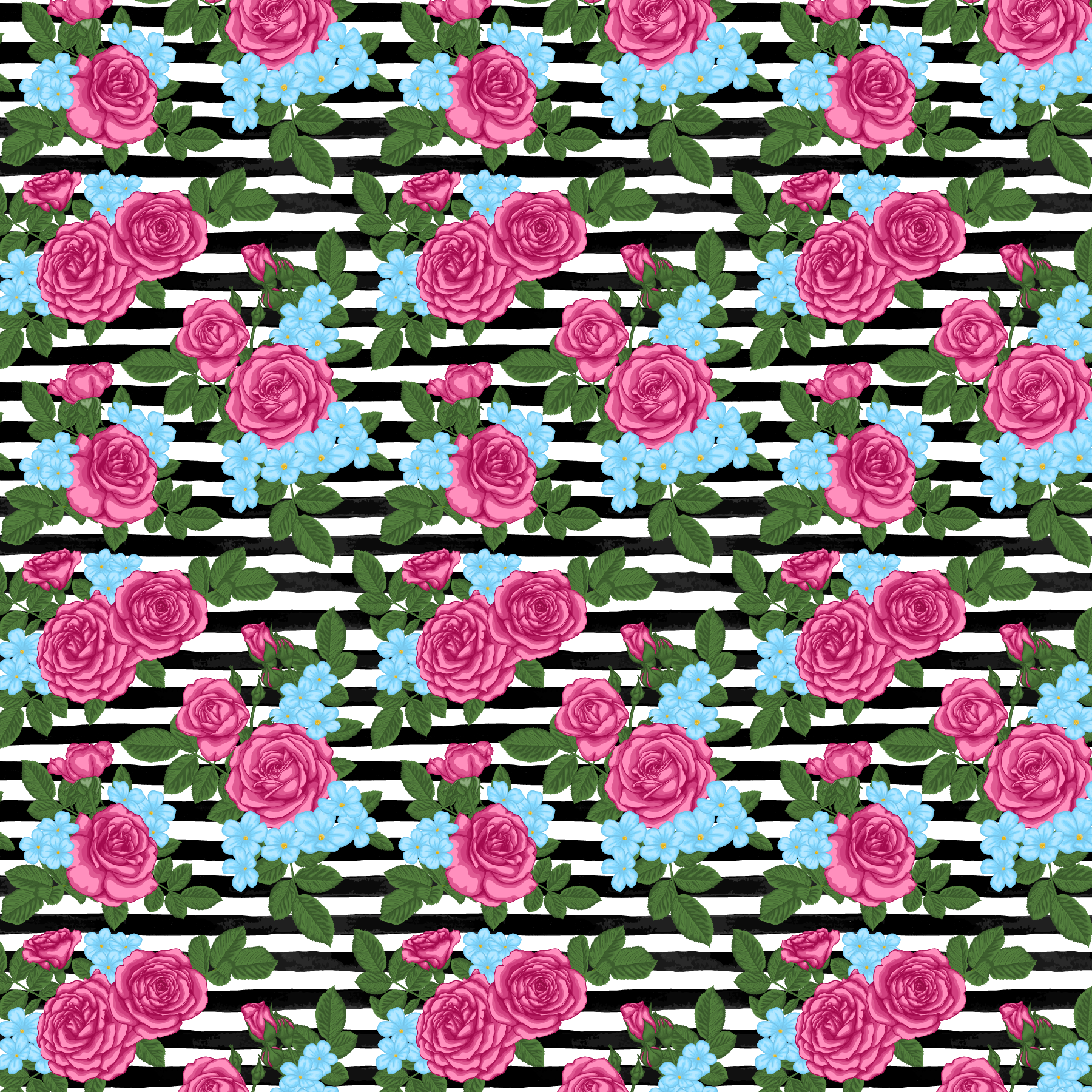 Black Stripes and Pink Roses Printed Vinyl