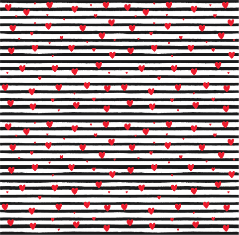 Black Stripes Red Hearts Printed Vinyl